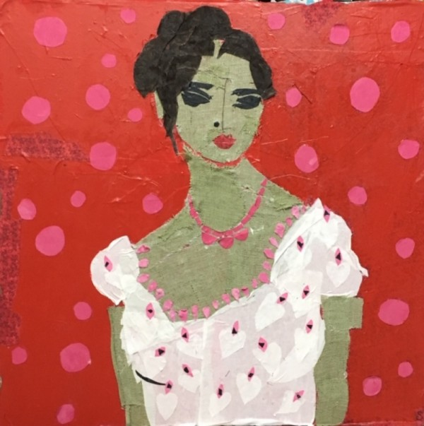 Lady with Polka Dots  SOLD