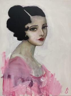 Lady with Pink Flourish