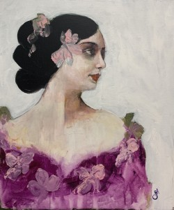 Lady with Pink Flowers in Her Hair