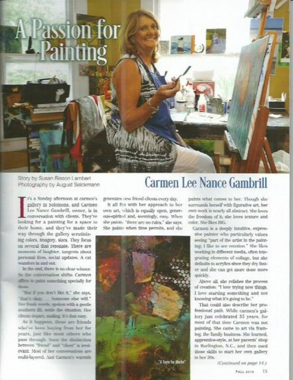 Carmen featured in Southern Maryland Living magazine Fall 2016
